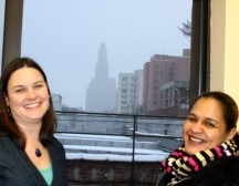 Amanda Frick of CBS partner Brooklyn Workforce Innovations (left), with Luz Tillery.